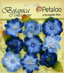 Botanica-BABY-BLOSSOMS-BLUE-Blossoms-amp-Leaves-FABRIC-9-flowers-28-30mm-Pet-A