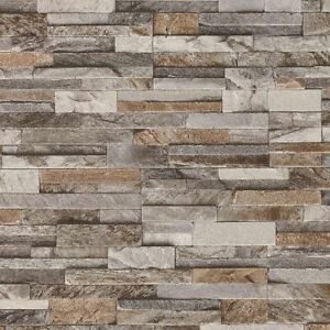 Brick Wall Stone Brown Beige Grey Slate Tile Wall Feature
