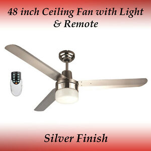 Sparky 48 inch 3 blade silver stainless steel ceiling fan with light image is loading sparky 48 inch 3 blade silver stainless steel mozeypictures Choice Image
