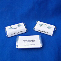 56 Personalized Wedding Miniatures Candy Wrappers Favor Labels Stickers Glossy