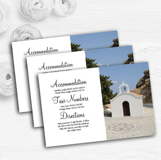 St Pauls Lindos Rhodes Abroad Personalised Wedding Guest Information Cards
