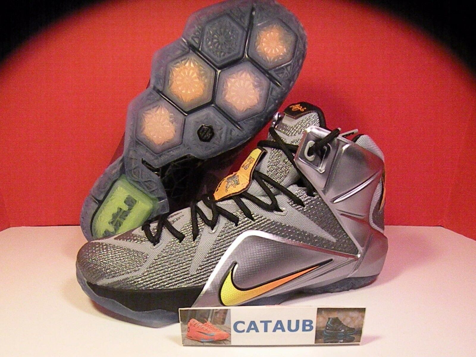 Nike LeBron XII 12 Flight Pack Wolf Grey Citrus Black SZ (9.5-12) (684593-080)