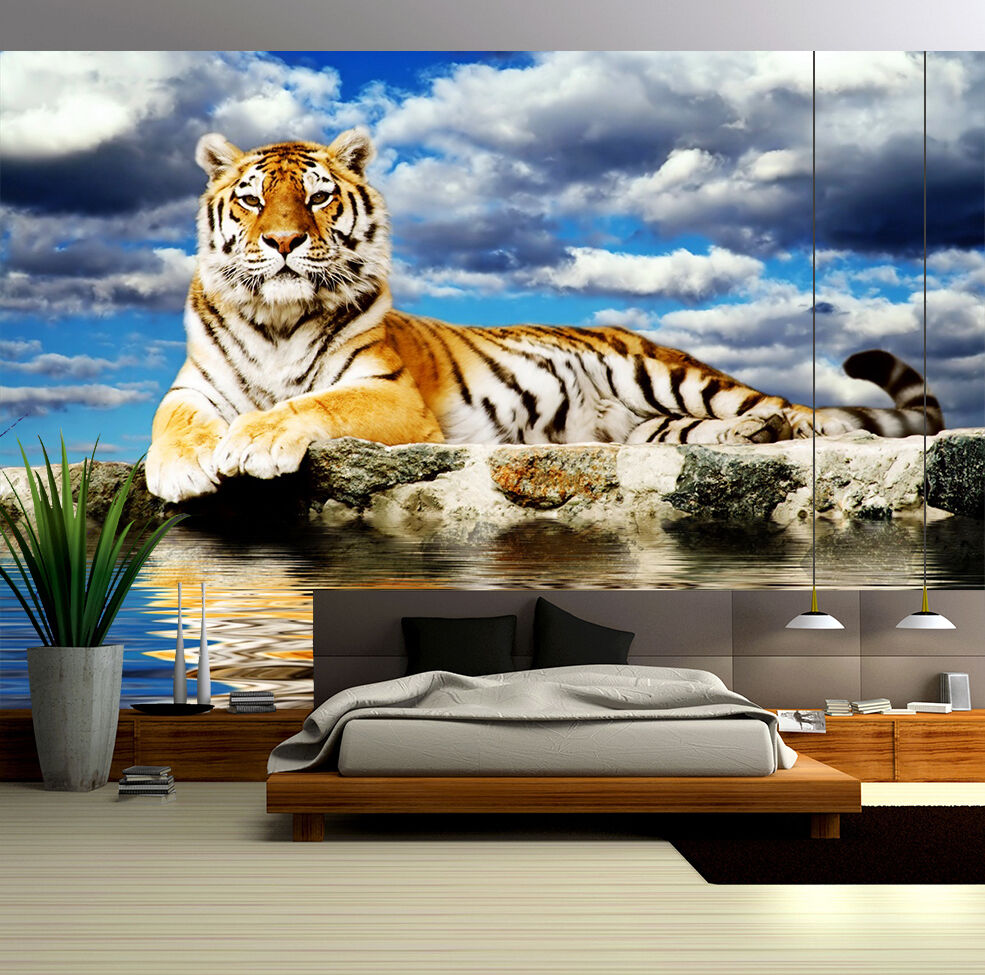 3D Stone River Tiger Wall Paper wall Print Decal Wall Deco Indoor wall Mural