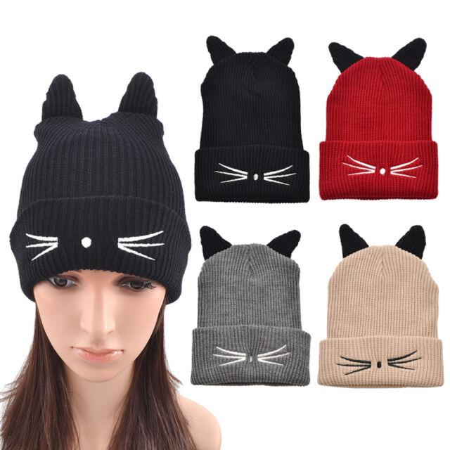 Cute Cat Ear Knitted Beanie Cap Winter Warm Women Girl Hat Ski Slouchy Cap