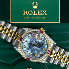 Women's Rolex Steel & Gold 36mm Datejust Watch Tahitian MOP Dial Ruby Diamond