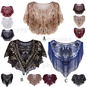 1920-039-s-Beaded-Flapper-Shawl-Scarf-Cape-Evening-Shrug-Bolero-Wedding-Party-Wrap