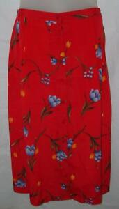 Red-Floral-XL-16-18-Church-Office-Career-Button-Front-Skirt-Pockets-KATHIE-LEE