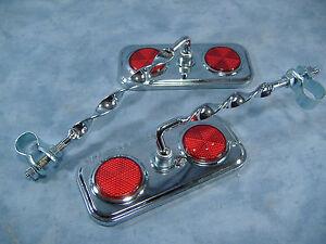 Lowrider vélo cyclisme rectangle miroir or Avec Bleu Réflecteurs