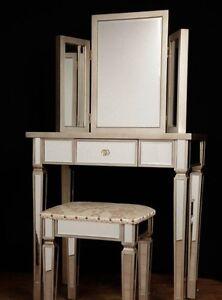 Art deco con specchio tavolo da toeletta sgabello set for Art deco arredamento