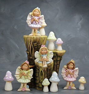Ceramic Bisque Ready to Paint Fairies on a Small Stump Brand New