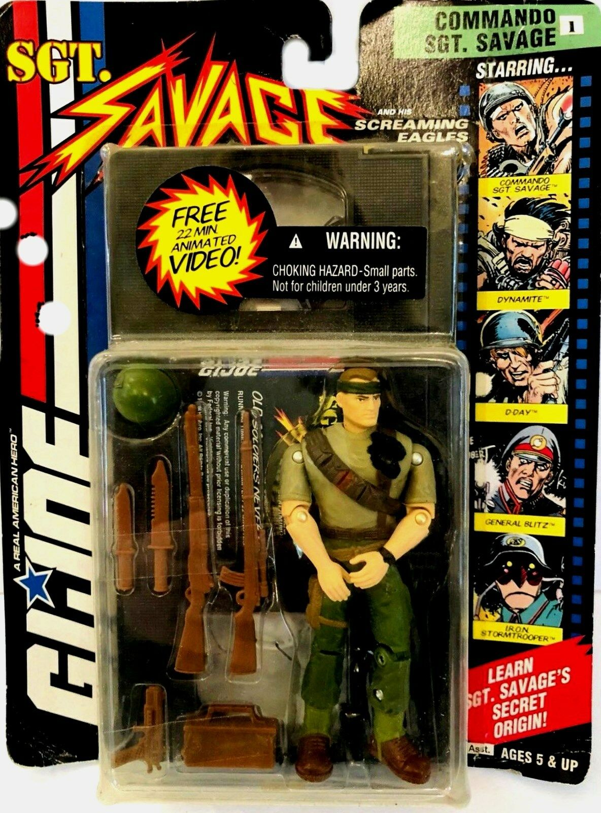 G.I. JOE Real American Hero 4  Commando SGT Savage New Factory Sealed 1994 w VHS