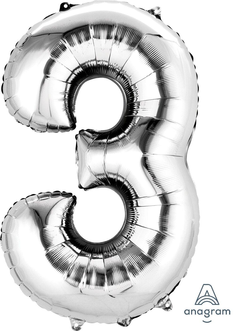 "NUMBER 3 Anagram Balloons USA STOCK Foil Mylar Balloon 34/"" BLUE SuperShape"