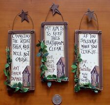 Item 2 3 Outhouse Wood Primitive Bathroom Signs Wall Decor With Hangers Rustic Stars
