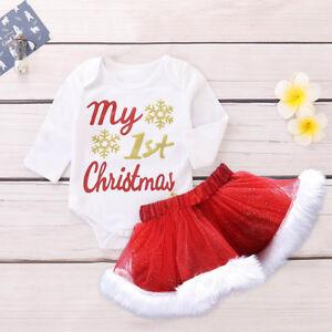 2PCS-Bebe-Recien-Nacido-Ninas-Mi-1st-Navidad-Tops-Mameluco-Falda-Tutu-Navidad-Conjuntos-Set