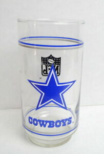 Dallas-Cowboys-Drinking-Glass-Tumbler-NFL-Mobil-Oil-Football-vintage-1970s