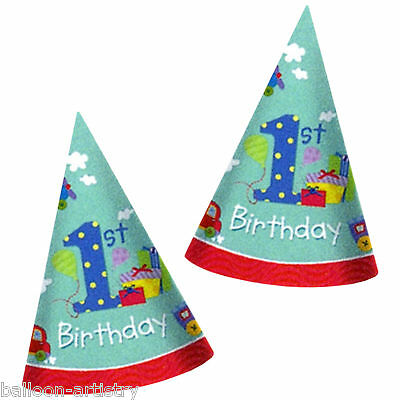 8 Blue Happy 1st Special Boy Birthday Party Paper Cone Hats