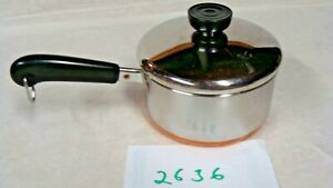 1801-Revere-Ware-1-Qt-Copper-Bottom-Mini-Saucepan-pot-with-lid-Stainless-Steel