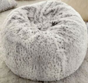 Pottery Barn Teen White Gray Leapard Faux Fur Bean Bag Cover Large 41 New 139 Ebay