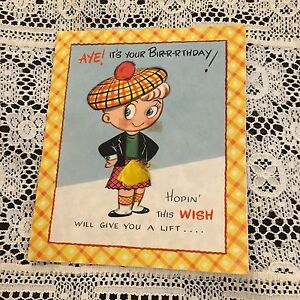 Vintage greeting card birthday scottish boy plaid rust craft ebay image is loading vintage greeting card birthday scottish boy plaid rust m4hsunfo