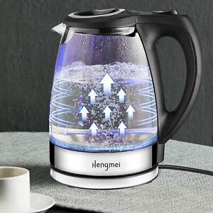 1,7 Liter Glas Edelstahl Wasserkocher 2200W kabellos Kalkfilter Blaue LED Licht
