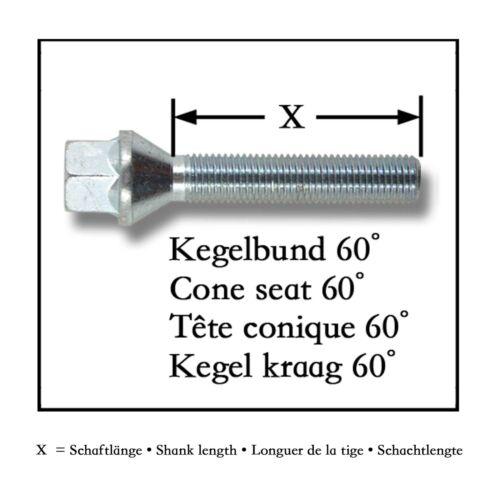 Perno de rueda 10x tornillos ensanchamiento llantas de aluminio kegelbund m14 x 1,25 50mm