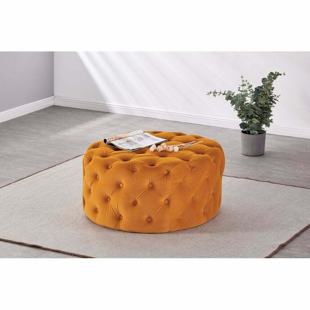 Melia Large Chesterfield Tufted Soft Velvet Square Round Footstool Pouffe Stool