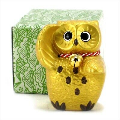 """Japanese 3.5/""""H Porcelain Wish-Making Rich Fortune Wealth Bell OWL Made in Japan"""