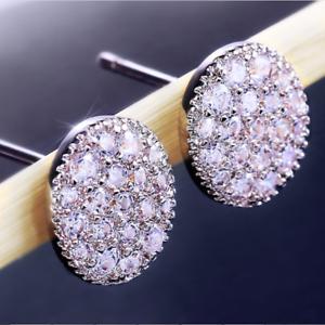 Luxury-925-Silver-White-Sapphire-Oval-Stud-Earrings-Shiny-Ladies-Wedding-Jewelry