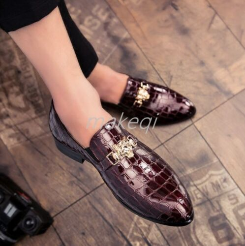 Mens Dress Formal Slip On Loafers Shoes Business Casual Crocodile Pattern Loafer