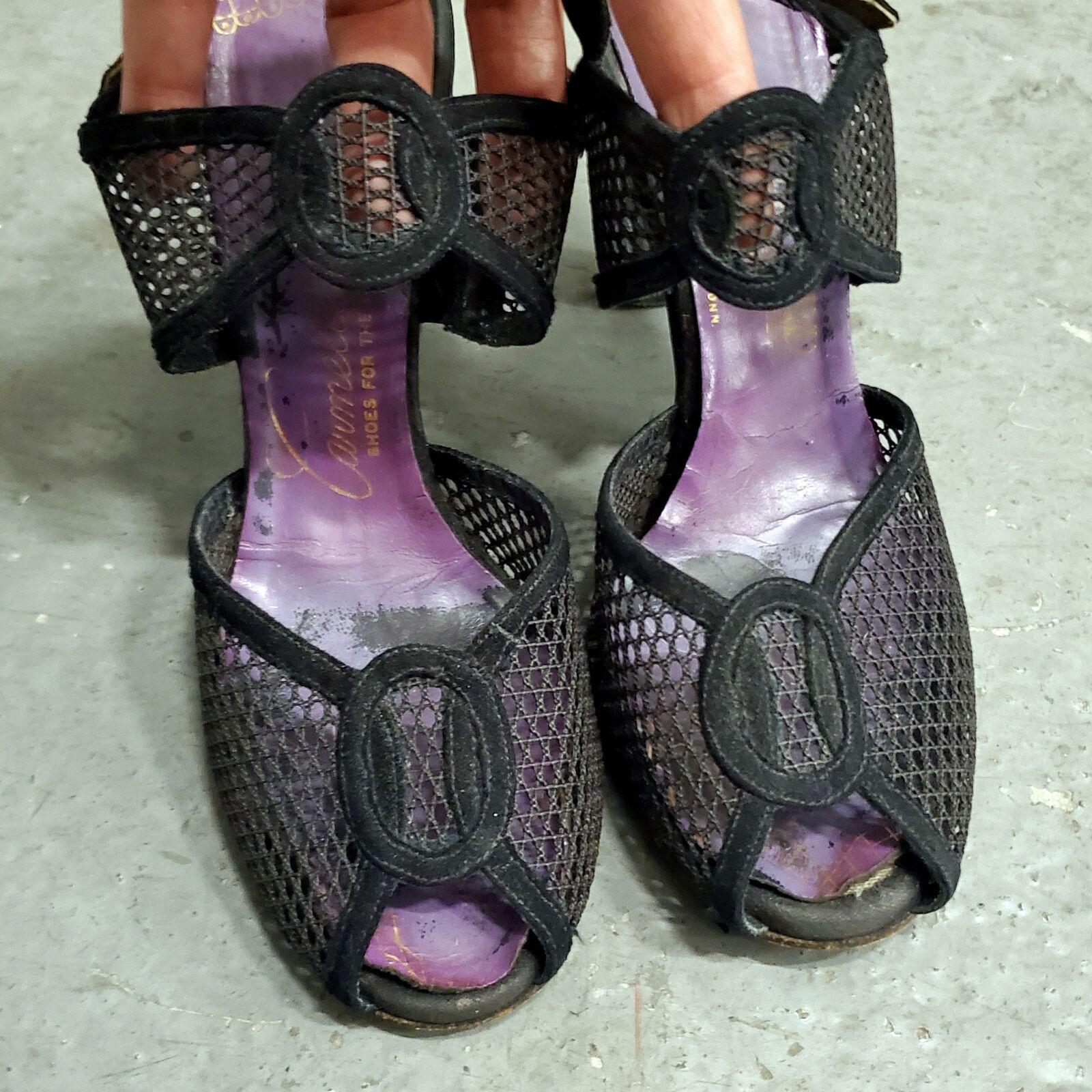 RARE 1940s Vintage Period Open Toe Mesh Sandals S… - image 1