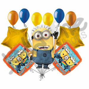 11 Pc Despicable Me Minions Happy Birthday Balloon Bouquet Party