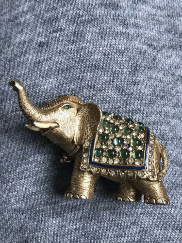 Vintage  Marked CINER Elephant Brooch  Green, Blu