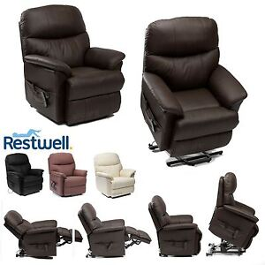 Image is loading Restwell-Lars-Leather-Electric-Riser-Recliner-Chair-Dual-  sc 1 st  eBay & Restwell Lars Leather Electric Riser Recliner Chair Dual Motor ... islam-shia.org