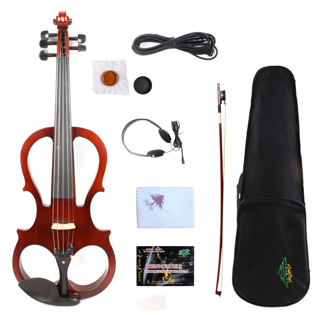 Yinfente 16 inch 5string Electric Silent purple Wooden Free Case+Bow+Cable  EL5
