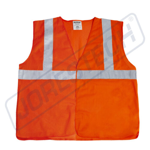 SAFETY VEST ANSI CLASS 2// Reflective Tape// High Visibility Orange JORESTECH