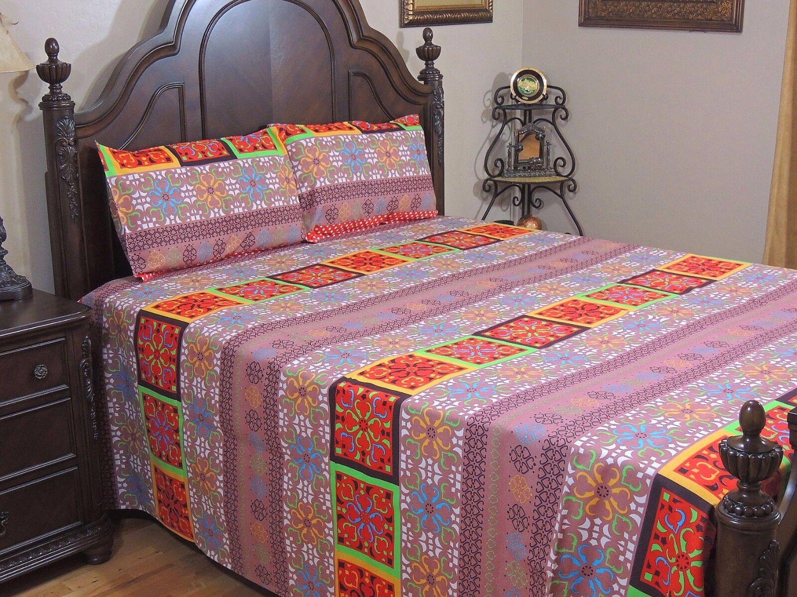 Bohemian braun Casement Cotton Bedspread Pillow Sham Ethnic Luxury King Bedding