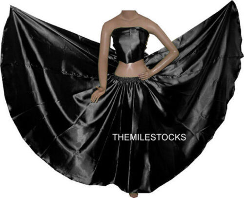 TMS BLACK Satin Full Circle Skirts Belly Dance Costume Gypsy Tribal Troup JUPE