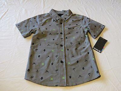 Hurley Toddler Boys 18M Long Sleeve Woven Cotton Button Shirt Blue Plaid NEW