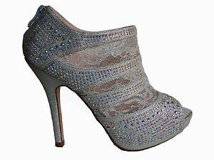Silver Lace Rhinestone Platform Peep Toe Heels Sandals Booties ...