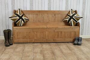 Details About 5FT HANDMADE PINE STORAGE PEW HALL BENCH STORAGE BENCH MADE  IN GREAT BRITAIN
