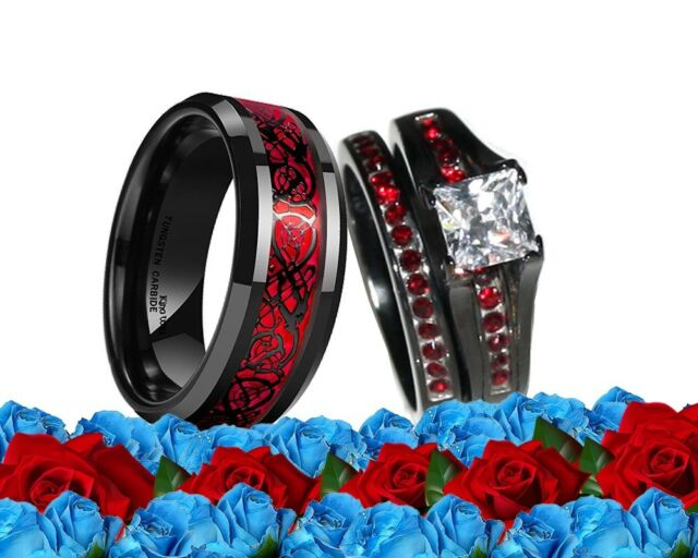 His Titanium And Her Stainless Steel Red Black Cz Engagement