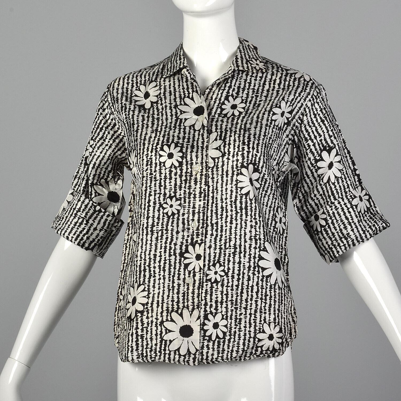 Medium 1960s Floral Shirt Short Sleeve VTG Weiß schwarz Button Down Blouse Top