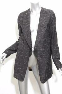 0c4f5af879 Details about CHLOE Womens Gray & White Speckled Collarless Long Open Coat  Blazer Jacket 2-34