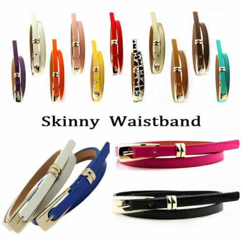New Fashion Women Lady Girl Skinny Waist Belt Thin Leather Narrow Waistband Gift
