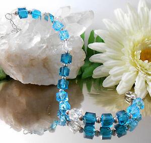 Brillanter-Glanz-Armband-facettierte-Kristall-Glas-Wuerfel-Petrol-Tuerkis