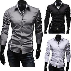 Herren-Freizeit-Slim-Fit-Hemd-Hemden-Langarm-Buegelleicht-Business-Hochzeit-Shirt