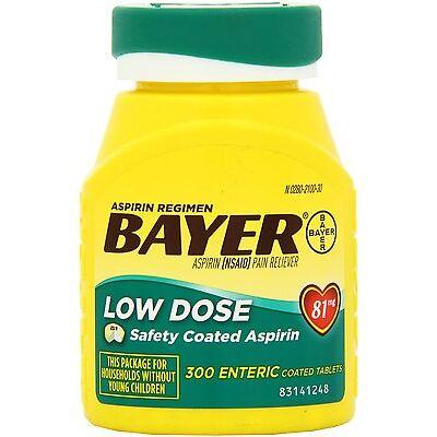 BAYER LOW DOSE 81mg DAILY ASPIRIN REGIMEN 300 ENTERIC COATED TABLETS