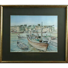 Al Bastakiya Dubai 1979 Fishing Boats Wind Towers Signed Watercolour Painting