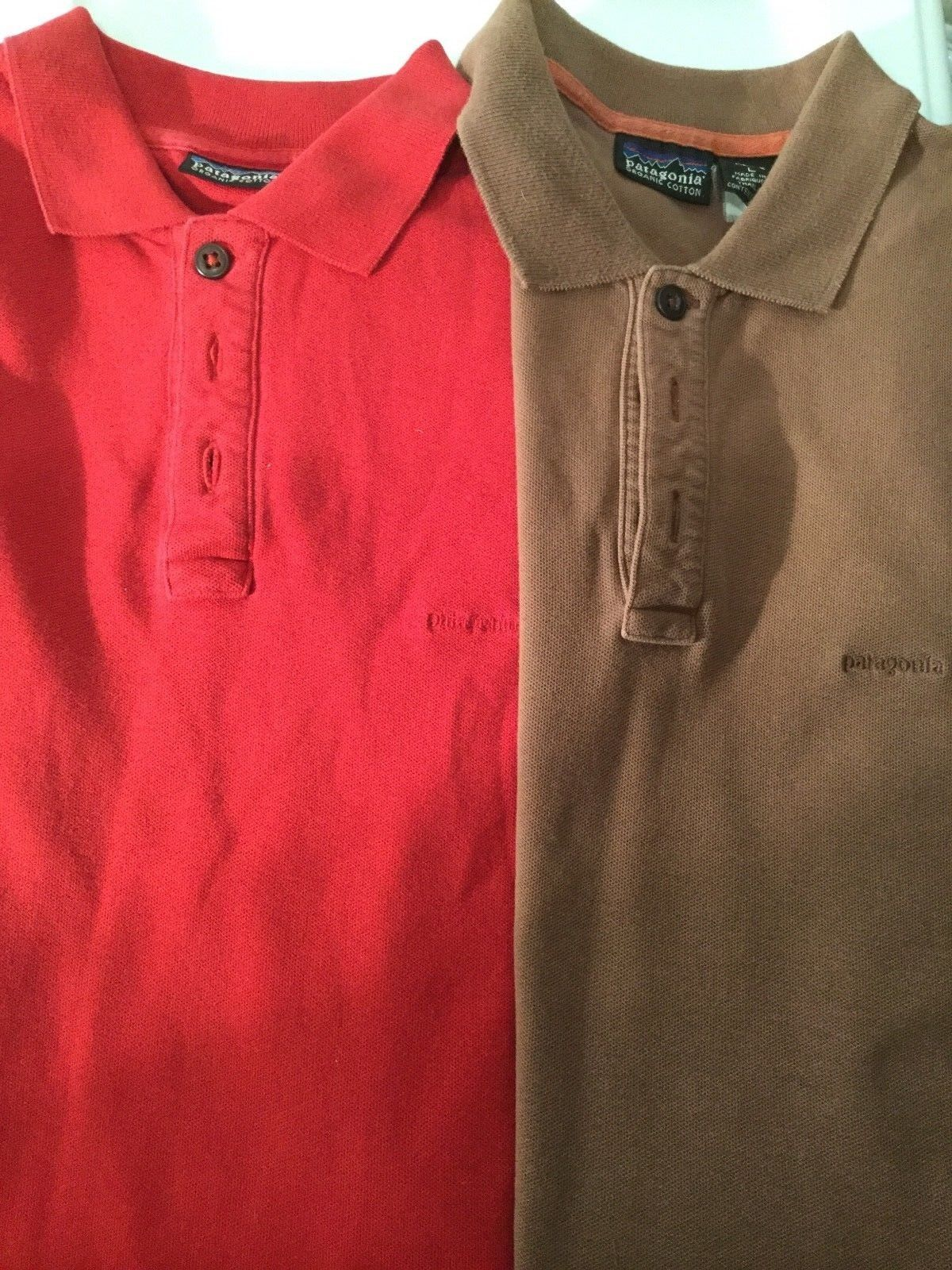 Patagonia Lot Organic Cotton Two Mens Polo Shirts Short Sleeve Red Brown 0258