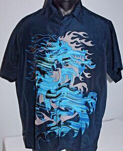 Acquaa Mens Chinese Kung Fu Style Short Sleeve Button Shirt Black M